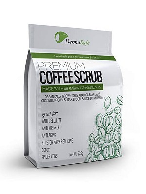 100% Pure Arabica Coffee Scrub - Coconut, Brown Sugar, Epsom Salts & Cinnamon. Huge 225 gr bag. Best Acne and Anti Cellulite Remover Treatment - Spider Vein Therapy for Varicose Veins & Eczema